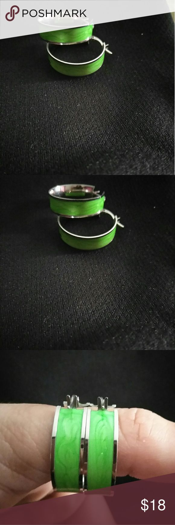 Green color stainless steel earrings Green color stainless steel earrings stainless steel Jewelry Earrings