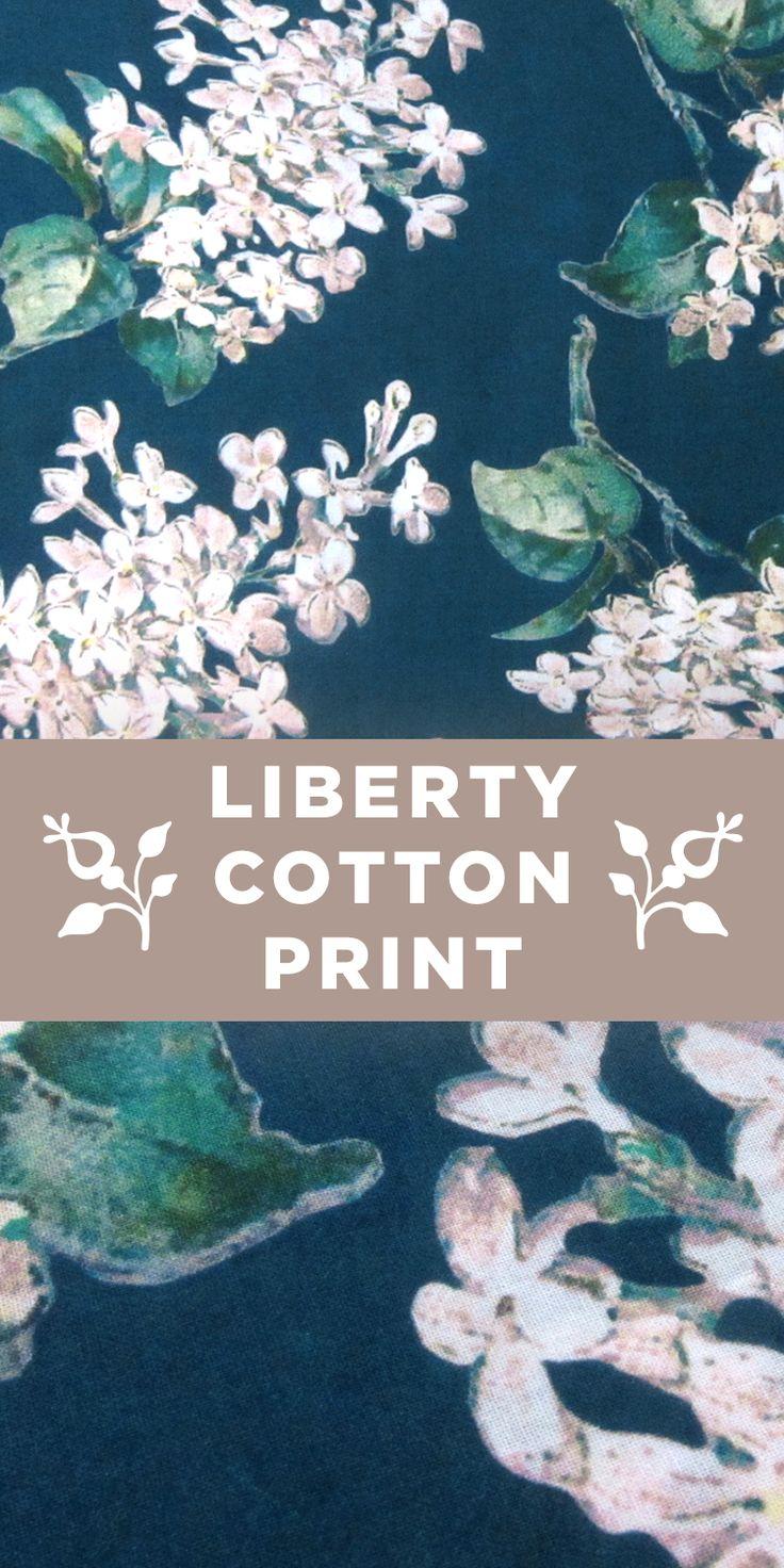 Simple Teal Floral Liberty of London Cotton Lawn Print #Flowers #Pattern #Blues www.bandjfabrics.com