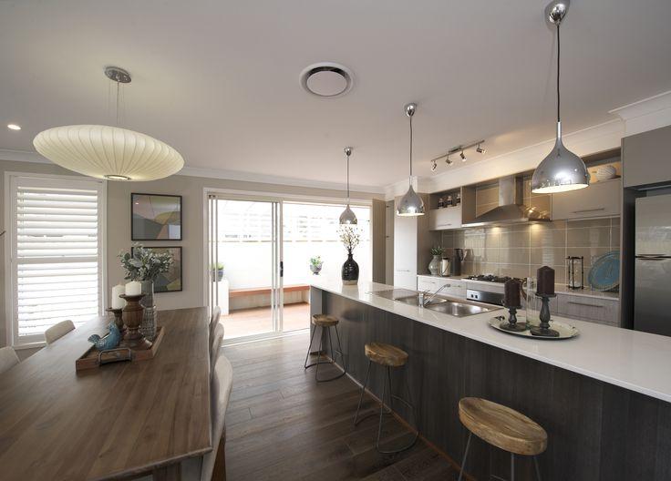 Pembrey kitchen / dining - on display at Shell Cove #kitchen #openplan #islandbench #interiordesign #dining