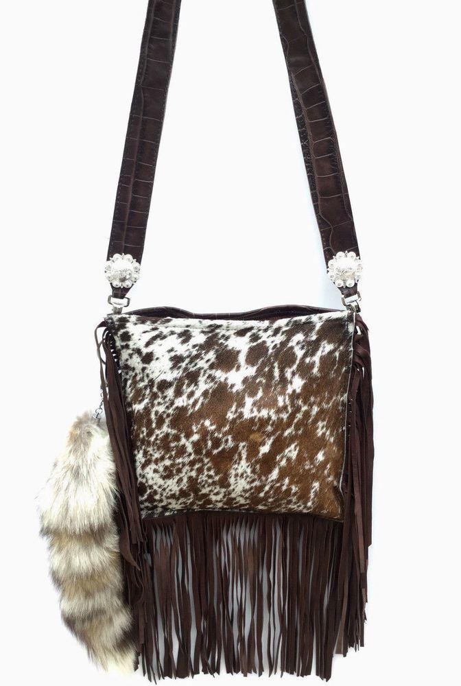 bccf632be2b6 Western Leather Exotic Brindle Cowhide Cross Body Bag w/ FRINGE ...