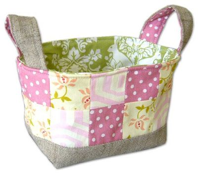 fabric basket tutorial. I think I'll make this, only a little bigger, for kids' toys or books.