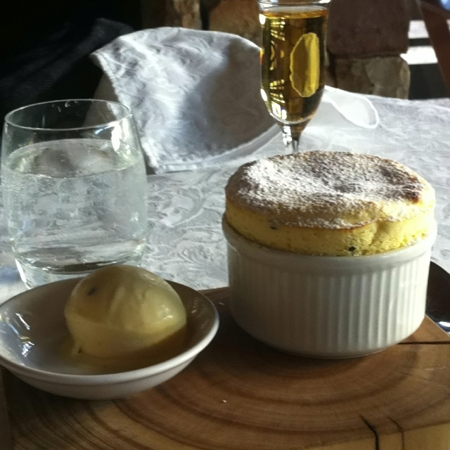 Passion fruit souffle with passion fruit ice cream - Ross