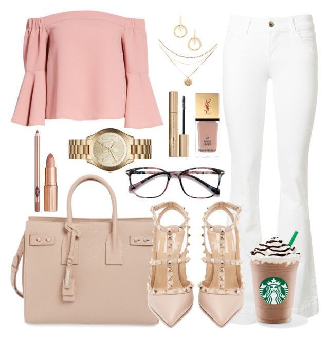 """130. Work With Style"" by coeurdalenee on Polyvore featuring Topshop, J Brand, Yves Saint Laurent, Valentino, EyeBuyDirect.com, Stila, Michael Kors and Sole Society"