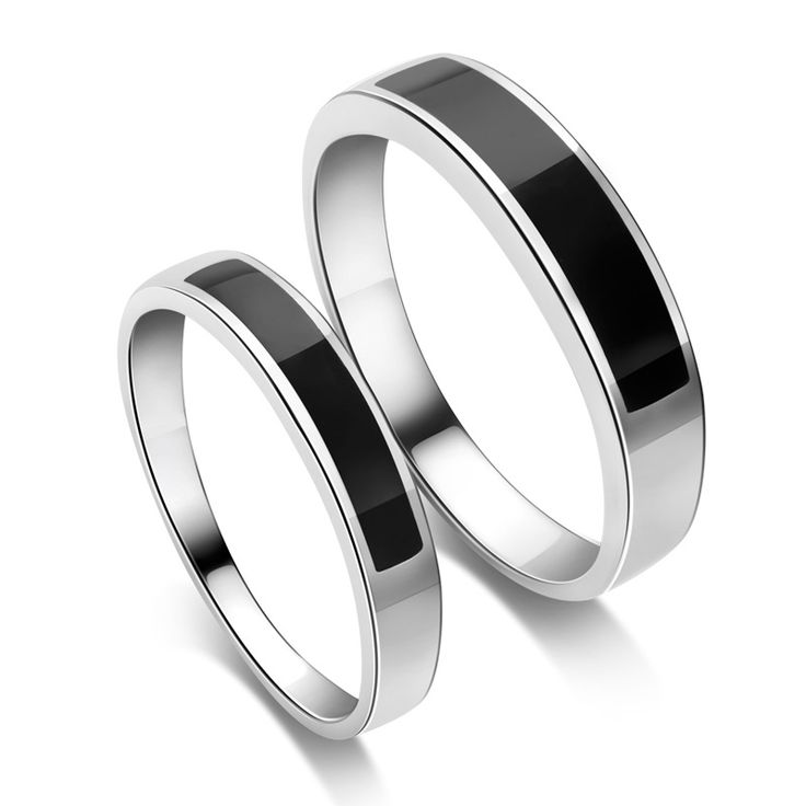 Stylish Modern Matching Wedding Bands With Onyx