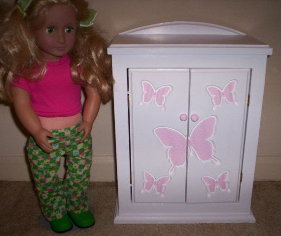 Armoire 18 inch doll furniture bedroom chiffrobe Made for American girl pink butterfly design by cmcraftedtreasures, $45.00