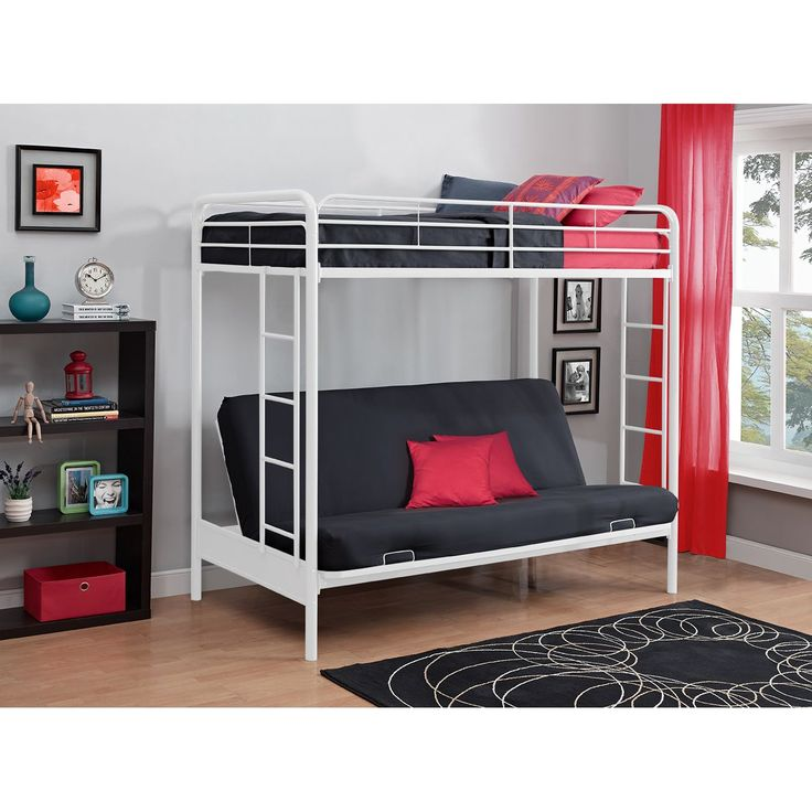 You'll love the convenience, flexibility and changeability of this stylish twin over futon bunk bed. Added safety features include a full-size guardrail for the top bunk, childproof mechanism and an integrated ladder.
