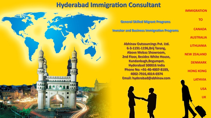 We are a Hyderabad based Immigration Visa consultancy organization which was established in 1994 with mission objective of assisting global clientele to successfully negotiate hurdles and barriers posed in Immigration. We have been offering flawless expert services to aspirants contemplating relocation or traveling with diverse objectives to numerous popular and upcoming destinations like Canada, Australia, UK, New Zealand, Denmark, Lithuania, Latvia, USA etc.