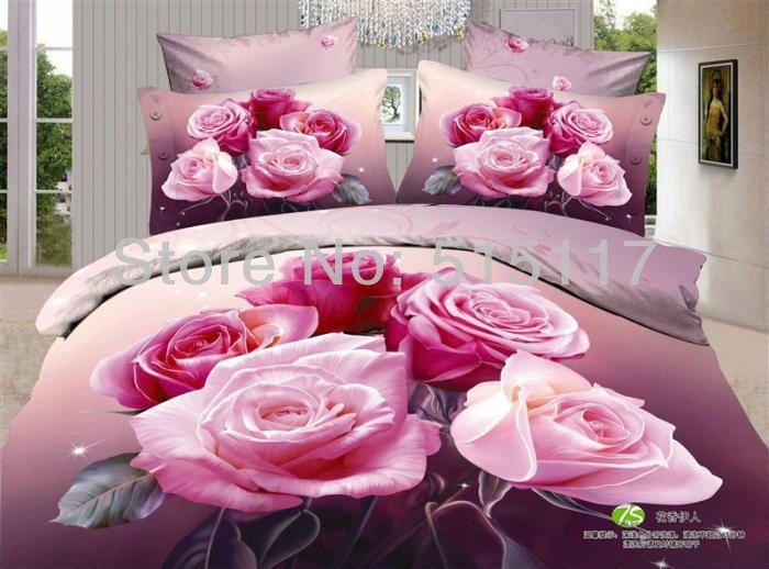 Têxtil 3d cama conjunto roupa de cama nobre rosa pink 100% colcha de algodão tampa de cama de alta- qualidade 800tc colcha cama...