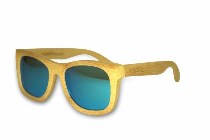 Madfas gafas en madera - CIRRUS – Natural / Lente Azul