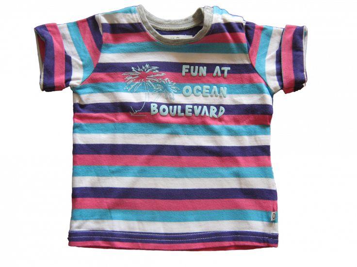 Maat 68 T-shirt Blauw/wit/paars/roze gestreept met blauw print voor  Merk Noppies