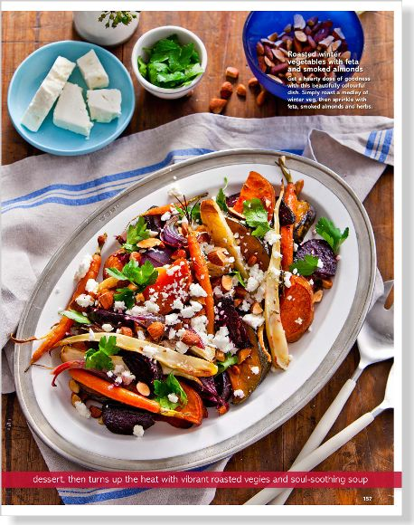 Roasted winter vegetables. Clipped from Better Homes and Gardens using Netpage.