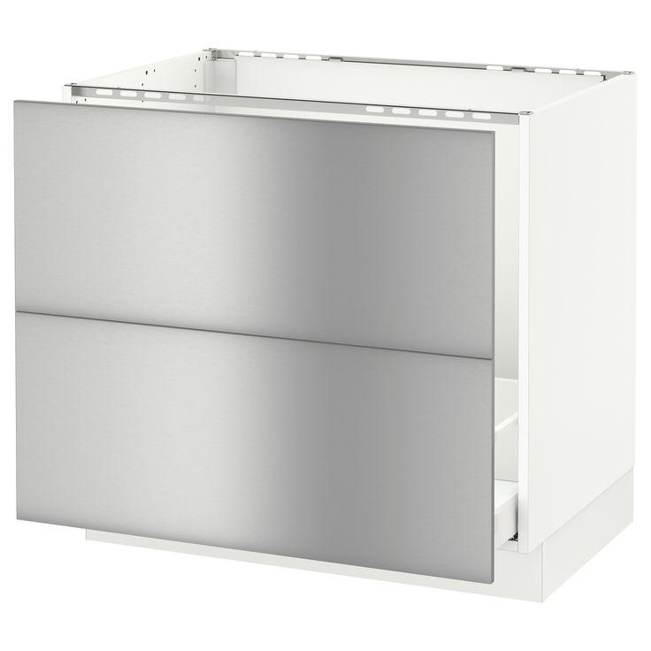 "SEKTION Arm inf évier/tri/2 faces - blanc, 36x24x30 "", Grevsta acier inox - IKEA"