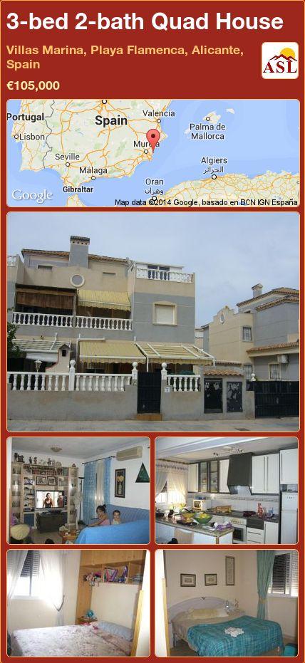 3-bed 2-bath Quad House in Villas Marina, Playa Flamenca, Alicante, Spain ►€105,000 #PropertyForSaleInSpain