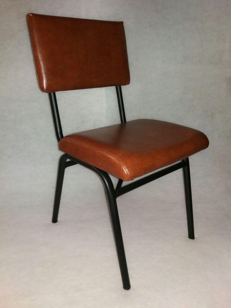 κάθισμα  μεταλλικο  με επενδυση  δερματινη