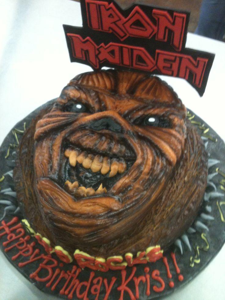 Iron Maiden Cake. Eddie in buttercream!
