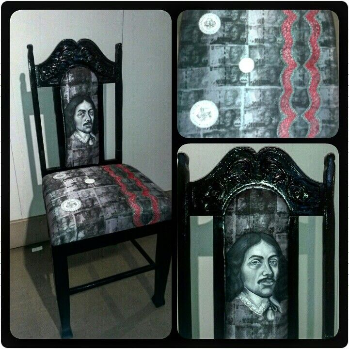 Money money money. Oil paintinga and pattern embroidery on silkscreen printed material on a restored chair done by JC Bölke (Bolke art)