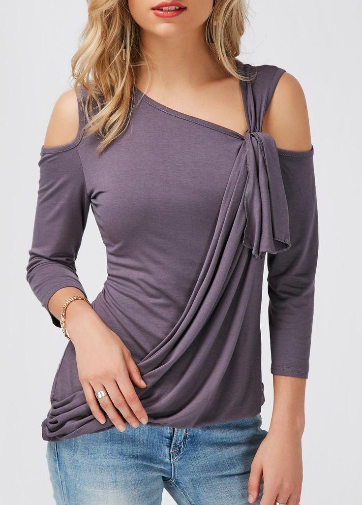 Asymmetric Hem Dark Grey Cold Shoulder T Shirt | Rosewe.com - USD $26.80