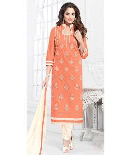 Intersting Orange And White Cotton Salwar Suit.
