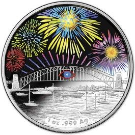 2014 $1 Sydney NYE Fireworks Holographic Proof Coin. The Sydney New Year's Eve celebrations are well-known all around the world for their stunning fireworks and fascinating Sydney Harbour Bridge Effect. he colour of the hologram will change to show the bursts of light appearing over the popular Australian landmark, Sydney Harbour Bridge, replicating the stunning fireworks.