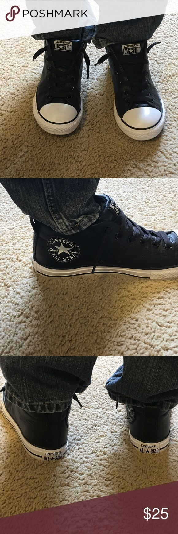 Boys Leather upper Converse 🌟DISCOUNT 🌟Boys size 5 leather upper Converse, these shoes are like new. Converse Shoes Sneakers