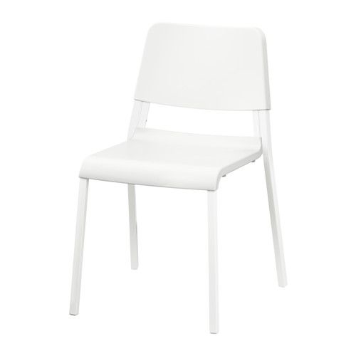 IKEA TEODORES Chair White The chair is easy to store when not in use, since you can stack up to 6 chairs on top of each other.