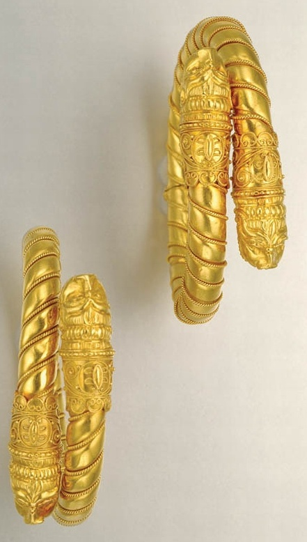 Pair of High Karat Gold Bangles 22 kt., maker's mark for Lalaounis & signed Z for Zolotas, Greece, ap. 55.4 dwt. Inner cir. 6 inches.