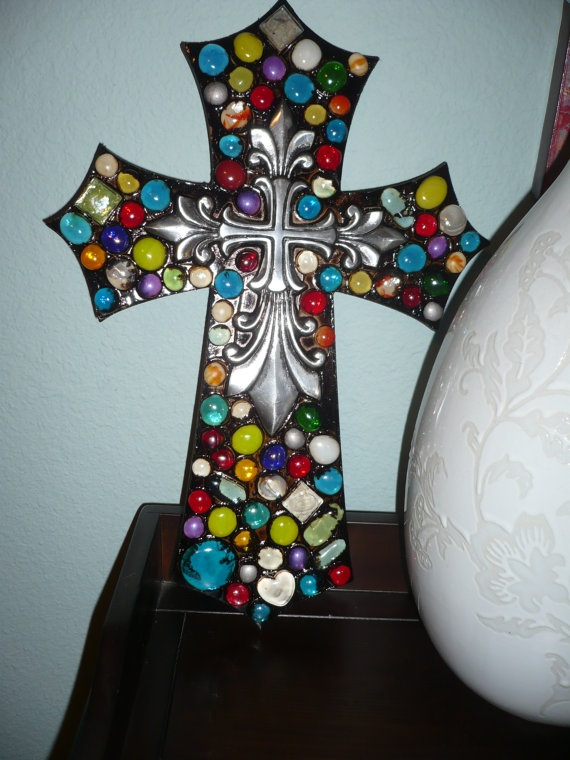 Colorful Mosaic Wall Cross with Silver accent