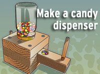 Instructions for homemade candy dispenser from Boys Life