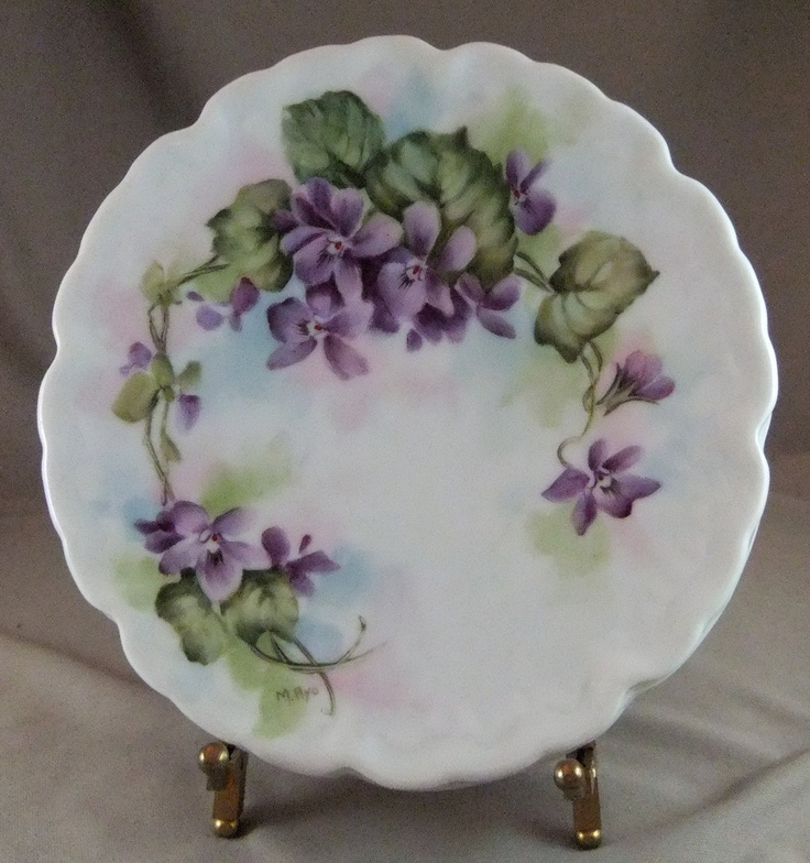 Hand Painted Violets on Porcelain Trivet by MAyoPorcelain on Etsy etsy.com
