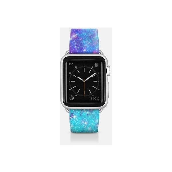 Apple Watch Band - Turquoise Lilac Galaxy Stars ($70) ❤ liked on Polyvore featuring jewelry, watches, apple watch band, turquoise jewellery, cosmic jewelry, apple watches, galaxy watches and star jewelry