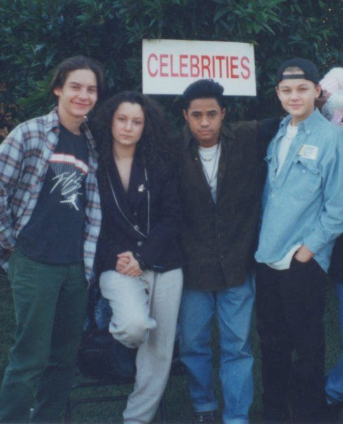 Actor Friends; Tobey Maguire, Sara Gilbert, Tyrone Tann, and Leonardo Dicaprio attending Charity Event.