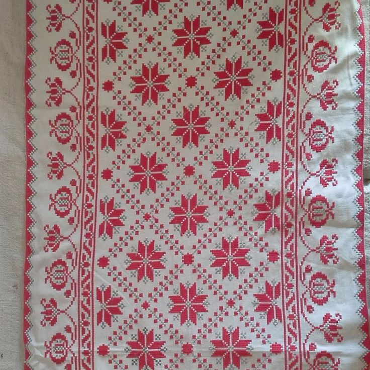 Embroidered vintage runner originally probably made as a wall hanging from Transylvania Measuring 150x65cm this piece is embroidered in grey and red