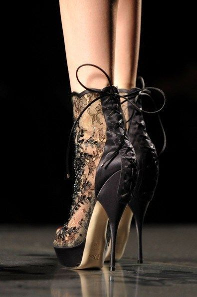 Black lace high heel platform ankle boots with lace up tie up the back heel. Beautiful!