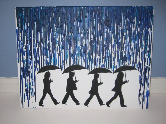 The Beatles Rain  Melted Crayon Artwork by RetroSpectrum86 on Etsy, $30.00
