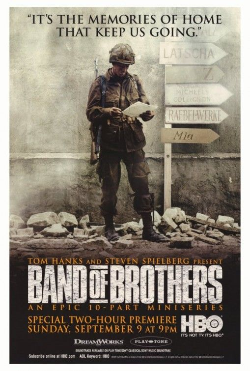 Band of Brothers Mini series. Language aside, it's really good. Very fitting to the book and the men's stories.