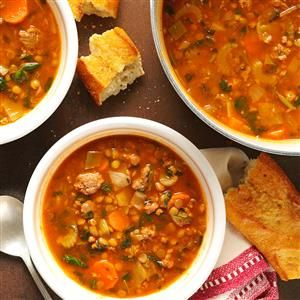 Beef Lentil Soup Recipe -You can prepare this soup as the main course in a hearty lunch or dinner. But—on cold winter evenings here in New England—I've often poured a steaming mugful and enjoyed sipping it in front of our fireplace as well. —Mrs. Guy Turnbull, Arlington, Massachusetts