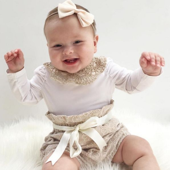 Handmade Baby Clothing - Lace Bloomers by Eighteen Fifty One, Vintage Lace Collar by Nine Toes & Co