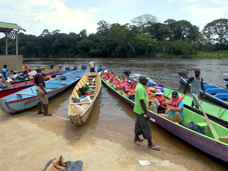 The road south from Paramaribo ends at Atjoni where travelers board motorized canoes to continue up the Suriname River.