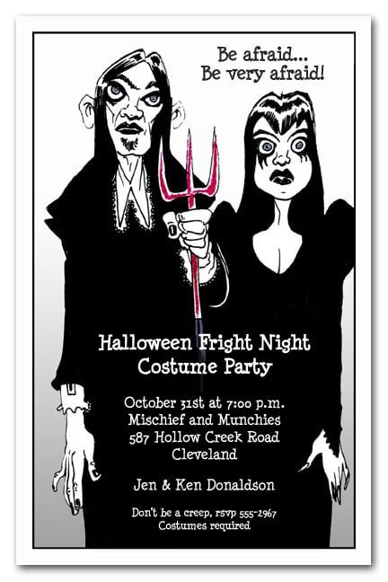 """A couple dressed in goth black, a Halloween version of the classic pitchfork holding American couple, perfect for adult Halloween party invitations, Halloween costume party invitations, scary Halloween invitations and more. Actual Size: 5.5"""" x 8.5"""""""