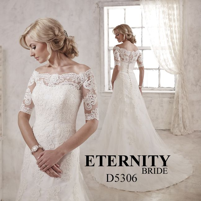 Vintage lace aline bridal gown with elegant scalloped edged off the shoulder neckline and button back drama. D5306 is available in Ivory or White. Call us to find your nearest retailer. #eternitybridal #eternitygroup #weddingdresses #bridal #brides #bridalgown #gettingmarried #weddingshopping #weddingdressshopping #bigday #weddingday #dresses #eternitybride #lacedress #weddingday #eternitybride