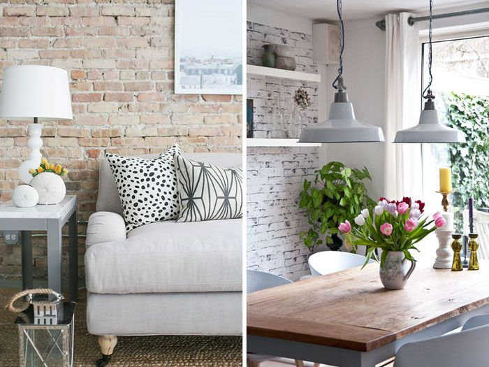 Wallpaper For Lounge Wall Part - 26: Pale Exposed Brick Wall