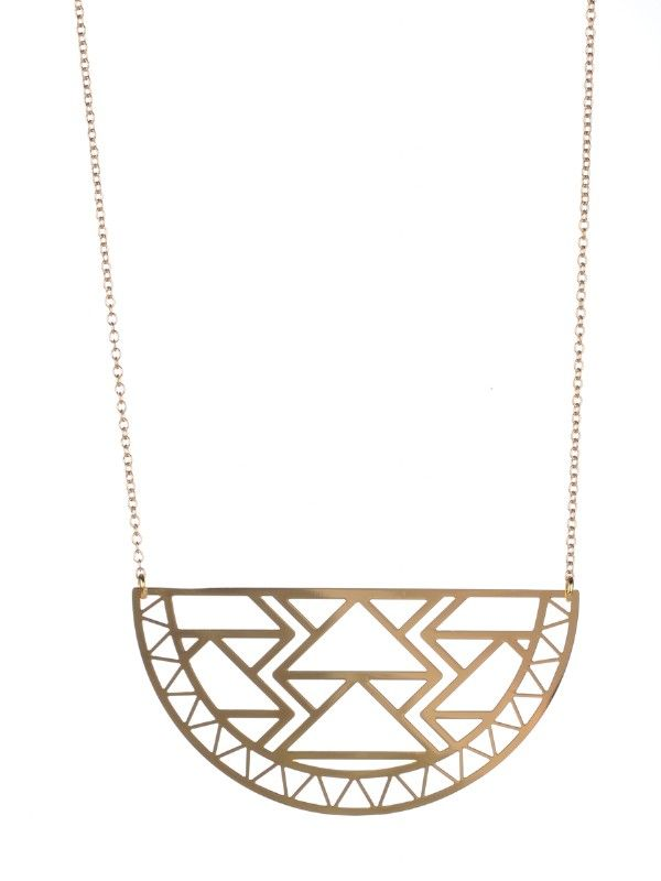 Geometric half moon necklace