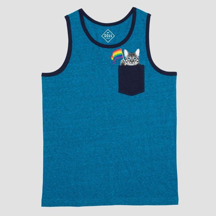 Pride Men's Big & Tall Cat Pocket Tank Top - Blue 3XLT, Size: 3XL Tall