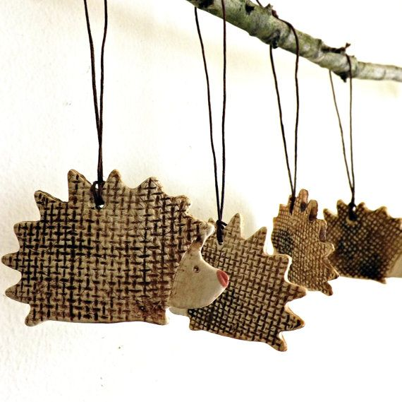 adorable rustic porcelain hedgehog holiday ornaments  made