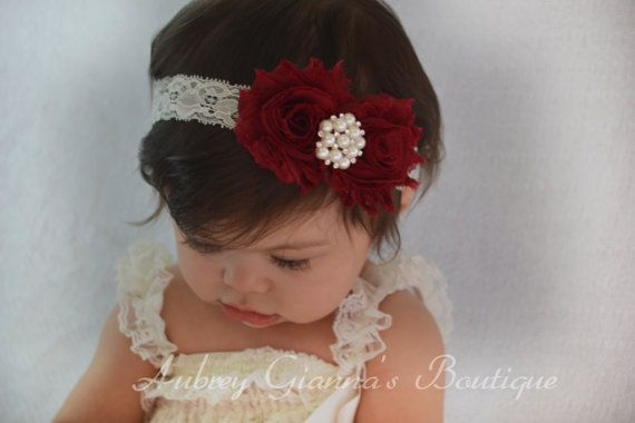 Burgundy Holiday Headband Baby headband newborn by AubreyGianna