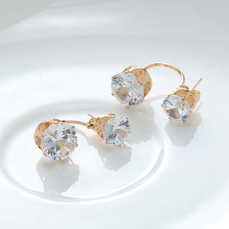 Only US$3.53, gold Fashion Charm Front Back Double Sided Half-circle Zircon - Tomtop.com