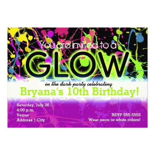 Glow Neon Paint Splatter Birthday Party Invitation Cards - For Boys and Girls. Bright and Colorful