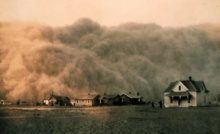 A dust storm or sand storm is a meteorological phenomenon common in arid and semi-arid regions. Dust storms arise when a gust front or other strong wind blows loose sand and dirt from a dry surface. Particles are transported by saltation and suspension, a process that moves soil from one place and deposits it in another.