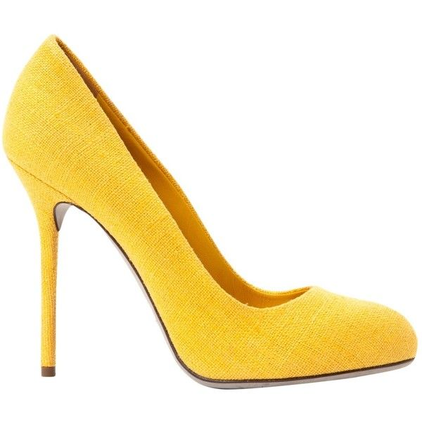Pre-owned Sergio Rossi Cloth Heels ($195) ❤ liked on Polyvore featuring shoes, pumps, women shoes heels, yellow, pre owned shoes, yellow shoes, yellow pumps, sergio rossi pumps and sergio rossi