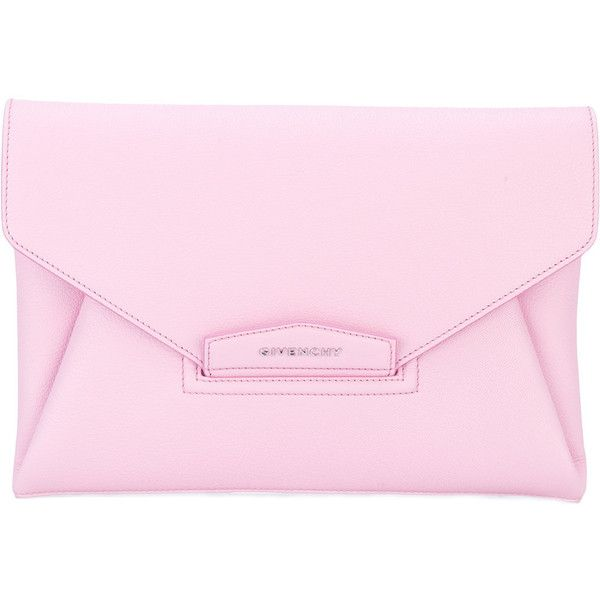 Givenchy Antigona clutch (€1.260) ❤ liked on Polyvore featuring bags, handbags, clutches, envelope clutch bags, givenchy, pink envelope clutch, pink handbags and pink clutches